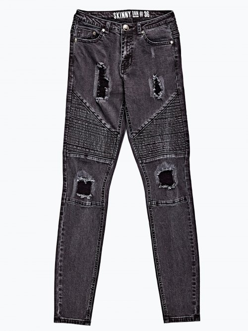 Damaged biker jeans in black wash