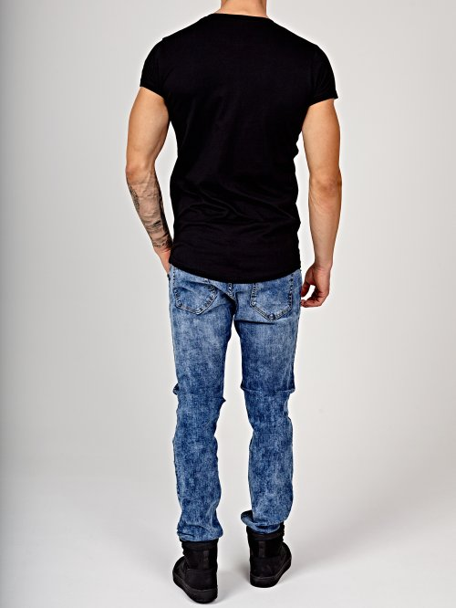 Straight slim fit jeans in snow wash
