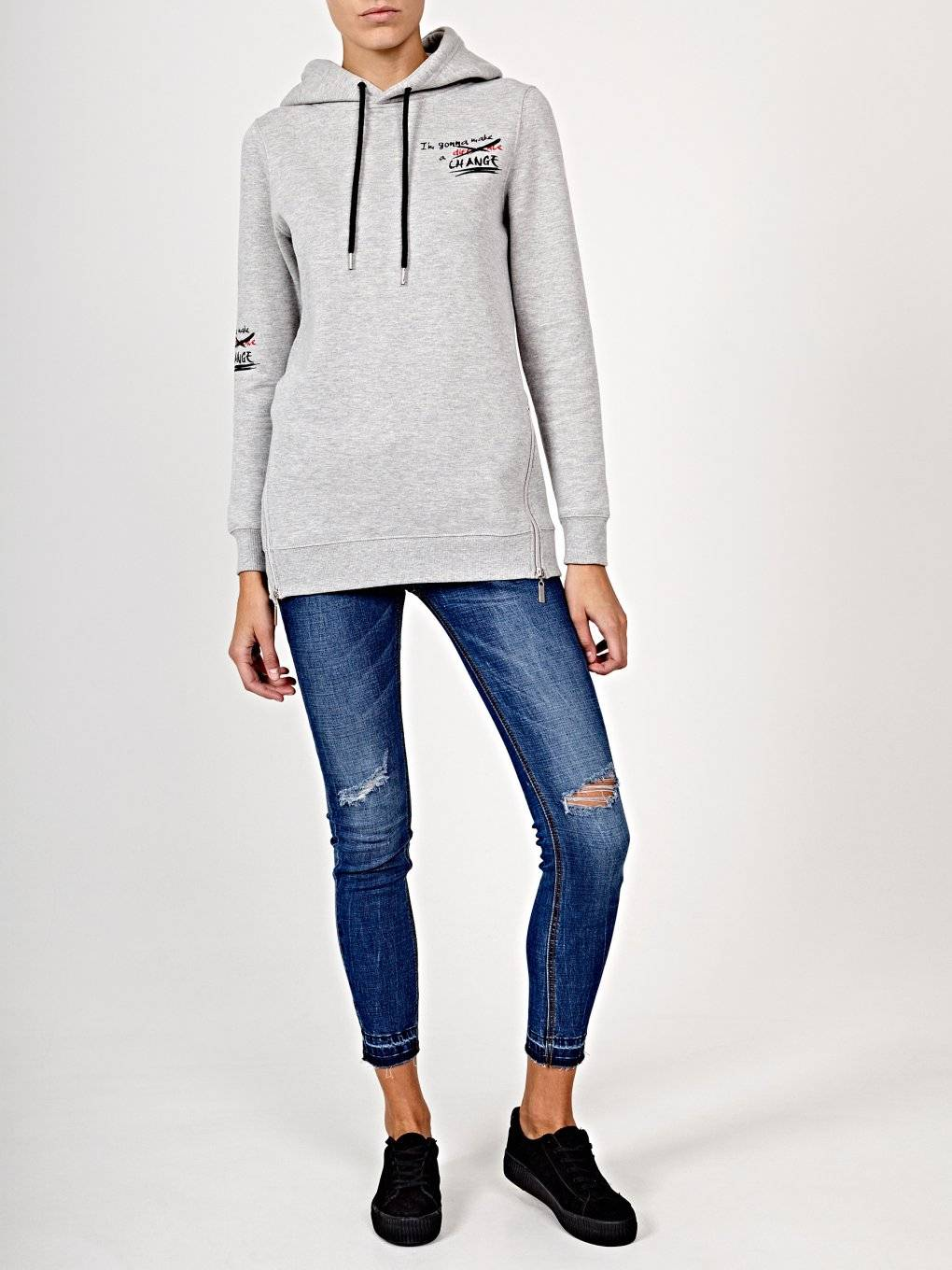 Oversized hoodie with print and zippers