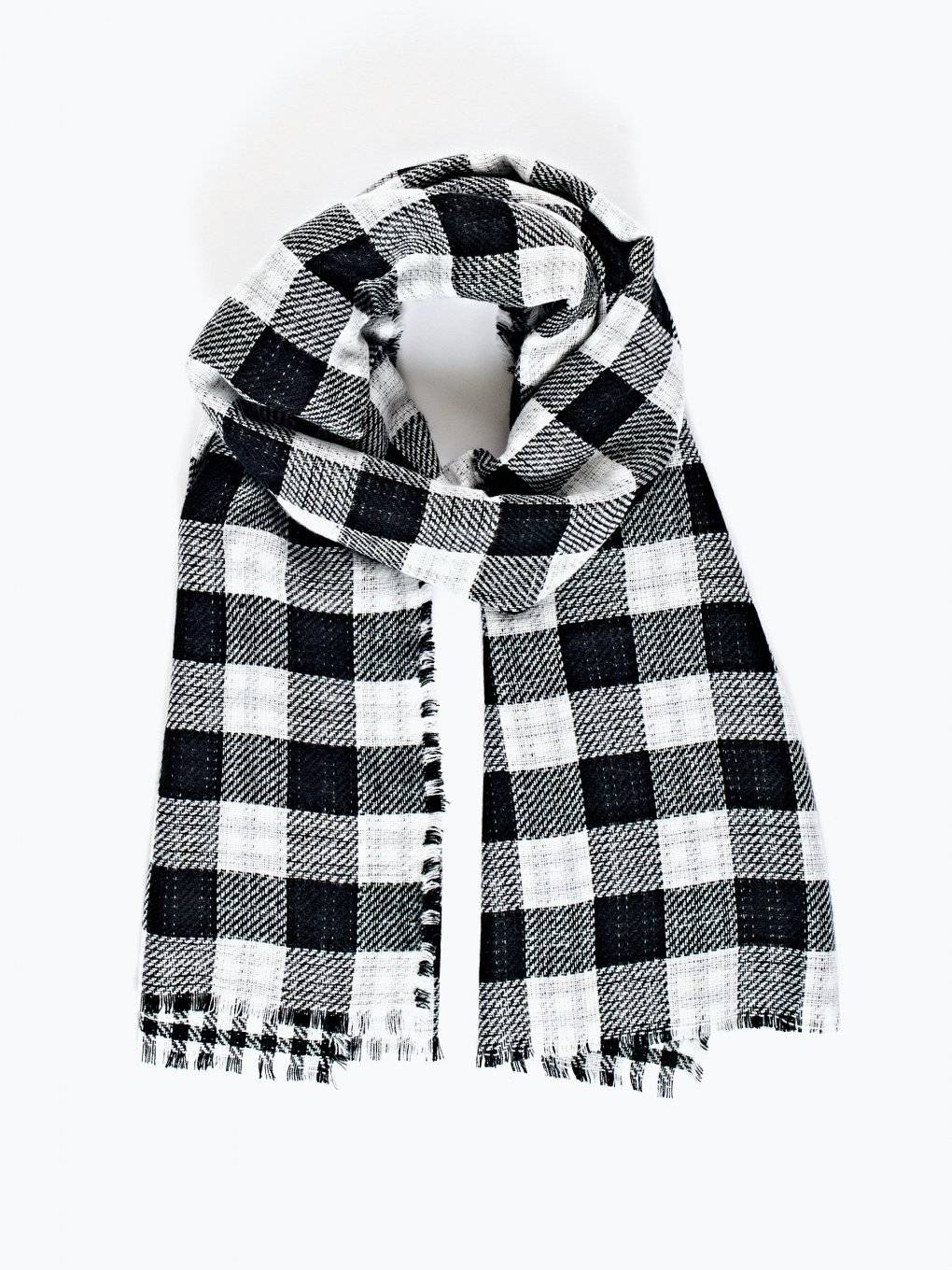 Reversible checked scarf
