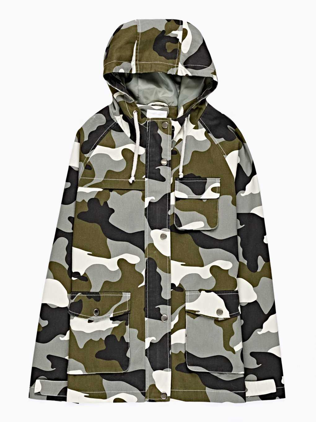 CAMO PRINT COTTON JACKET WITH HOOD
