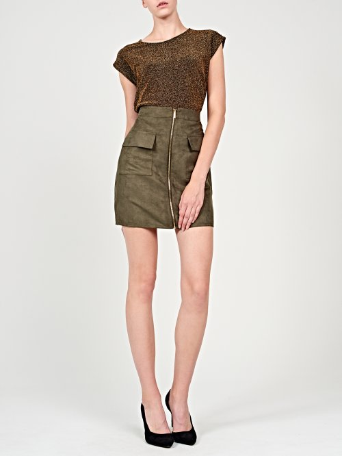 Faux suede mini skirt with front zipper