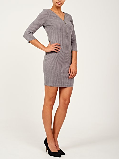 Rib-knit dress with front zipper