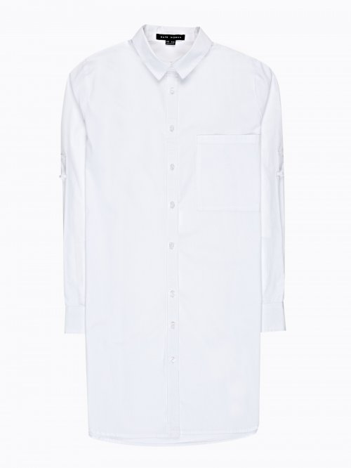 Longline cotton shirt with chest pocket