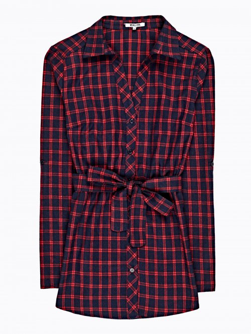 Longline plaid shirt with belt