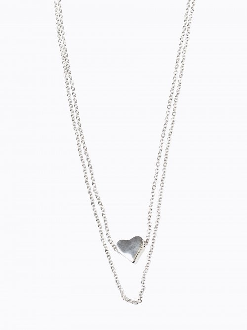 2-PACK NECKLACES SET WITH HEART PENDANT