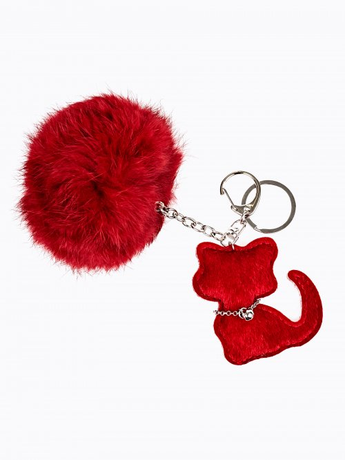 KITTY KEY RING WITH POM