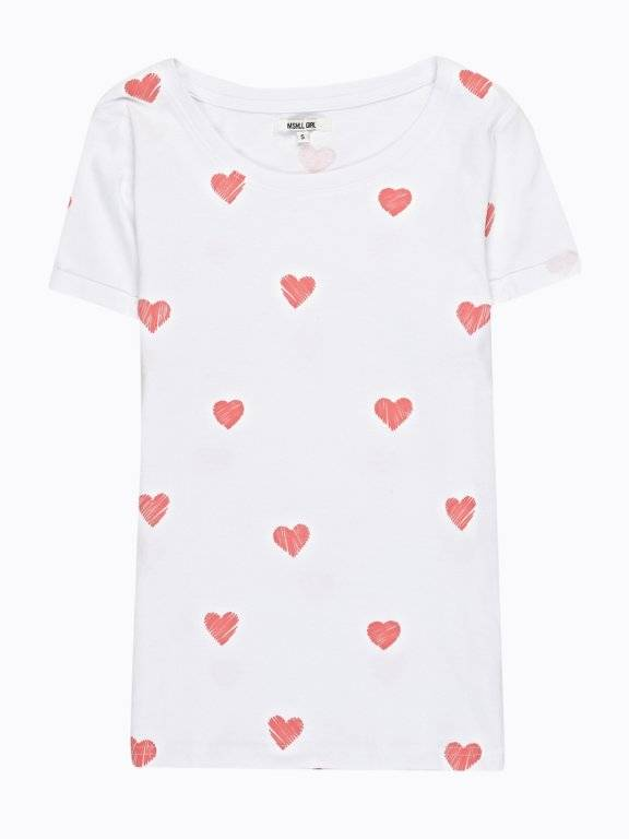 ALL OVER HEARTS PRINT T-SHIRT