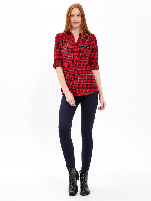 PLAID BLOUSE WITH DECORATIVE CHEST POCKET