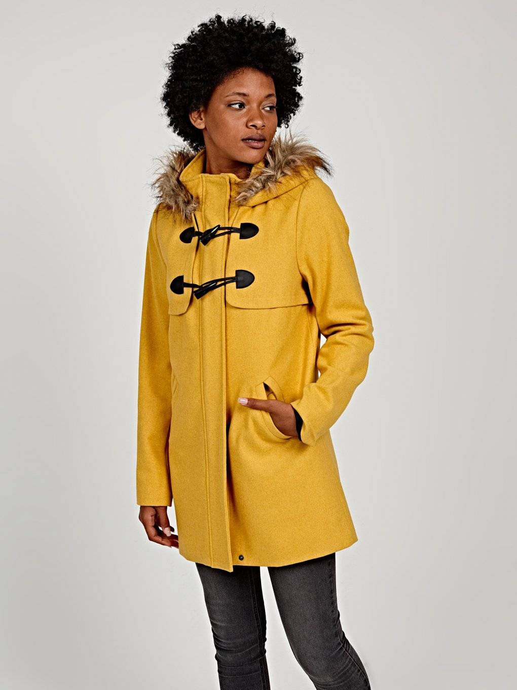 Zip-up coat with hood