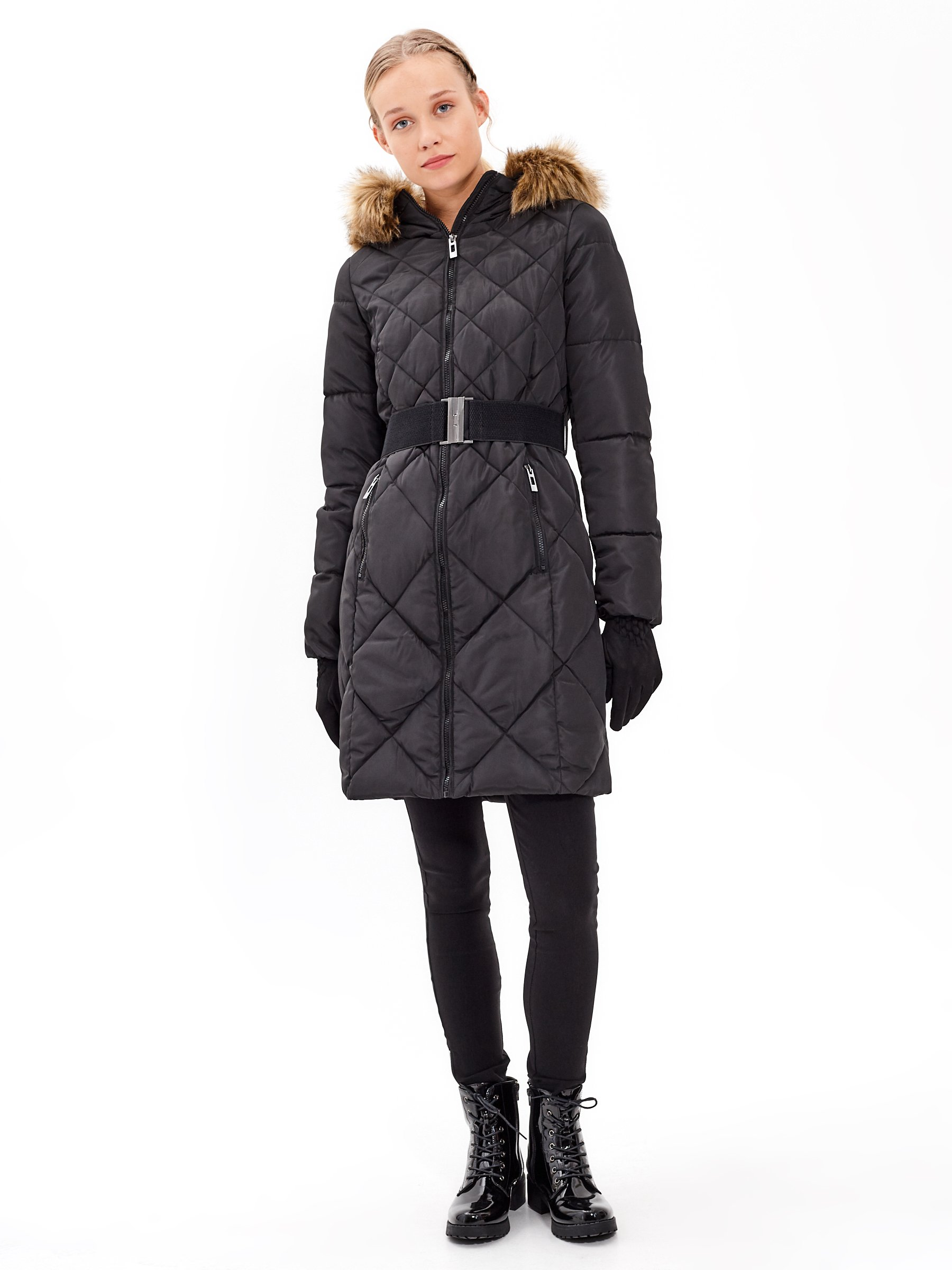 Longline Quilted Padded Jacket With Belt And Faux Fur Gate