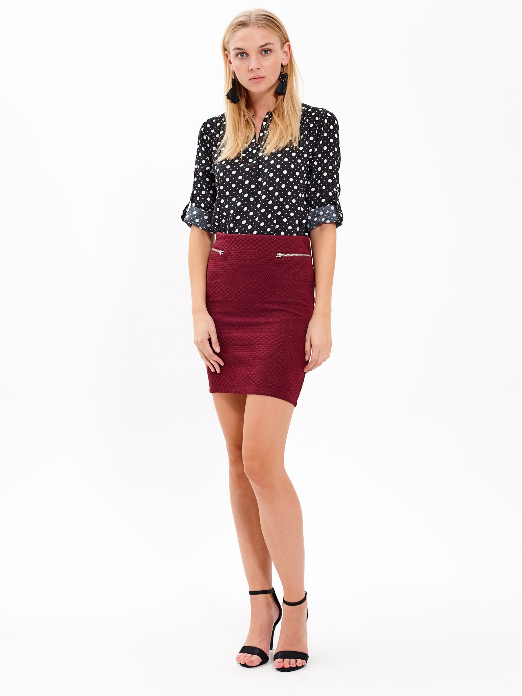 STRUCTURED BODYCON SKIRT WITH ZIPPERS