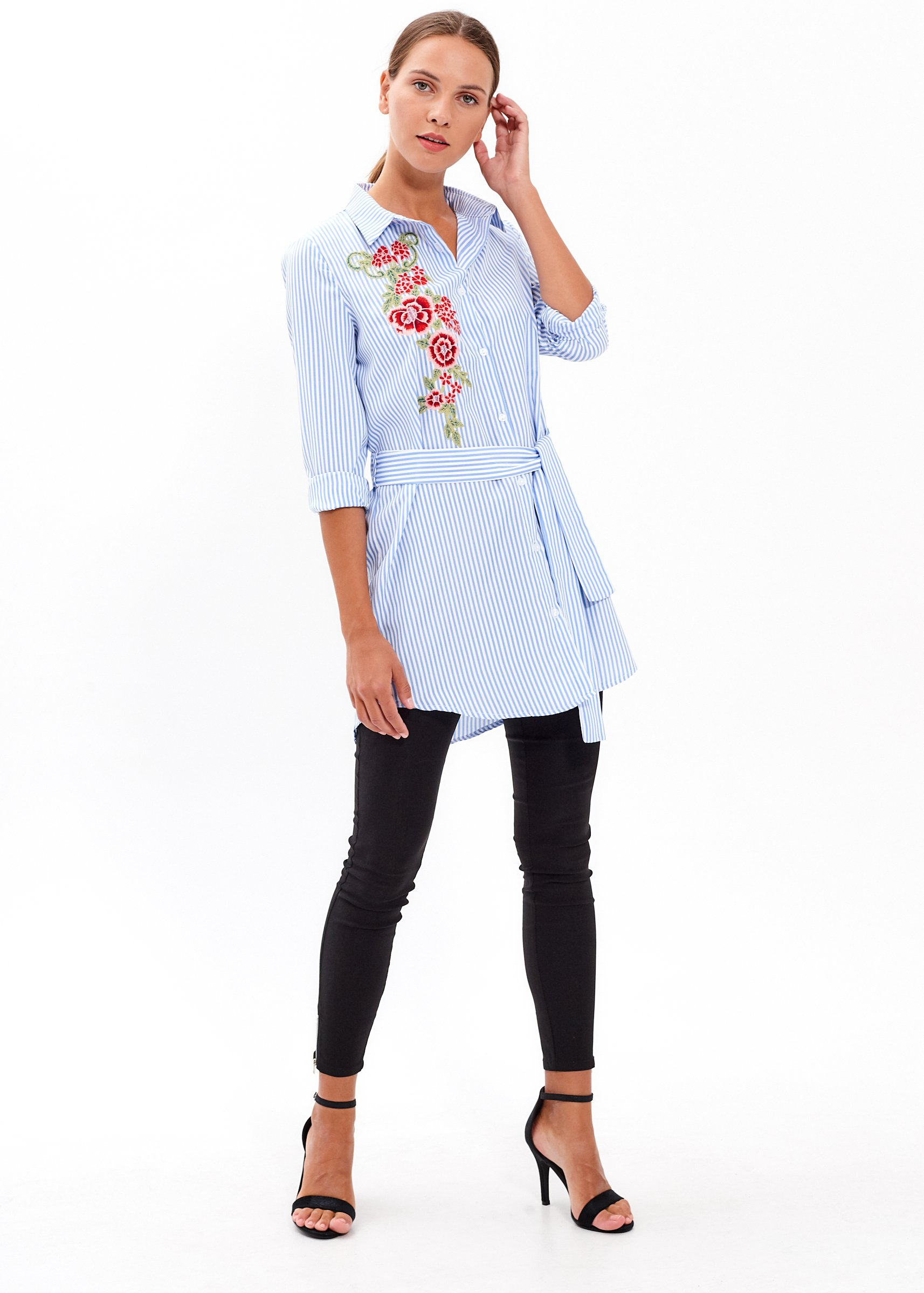 7f049ef6 LONGLINE STRIPED SHIRT WITH FLORAL EMBROIDERY | GATE