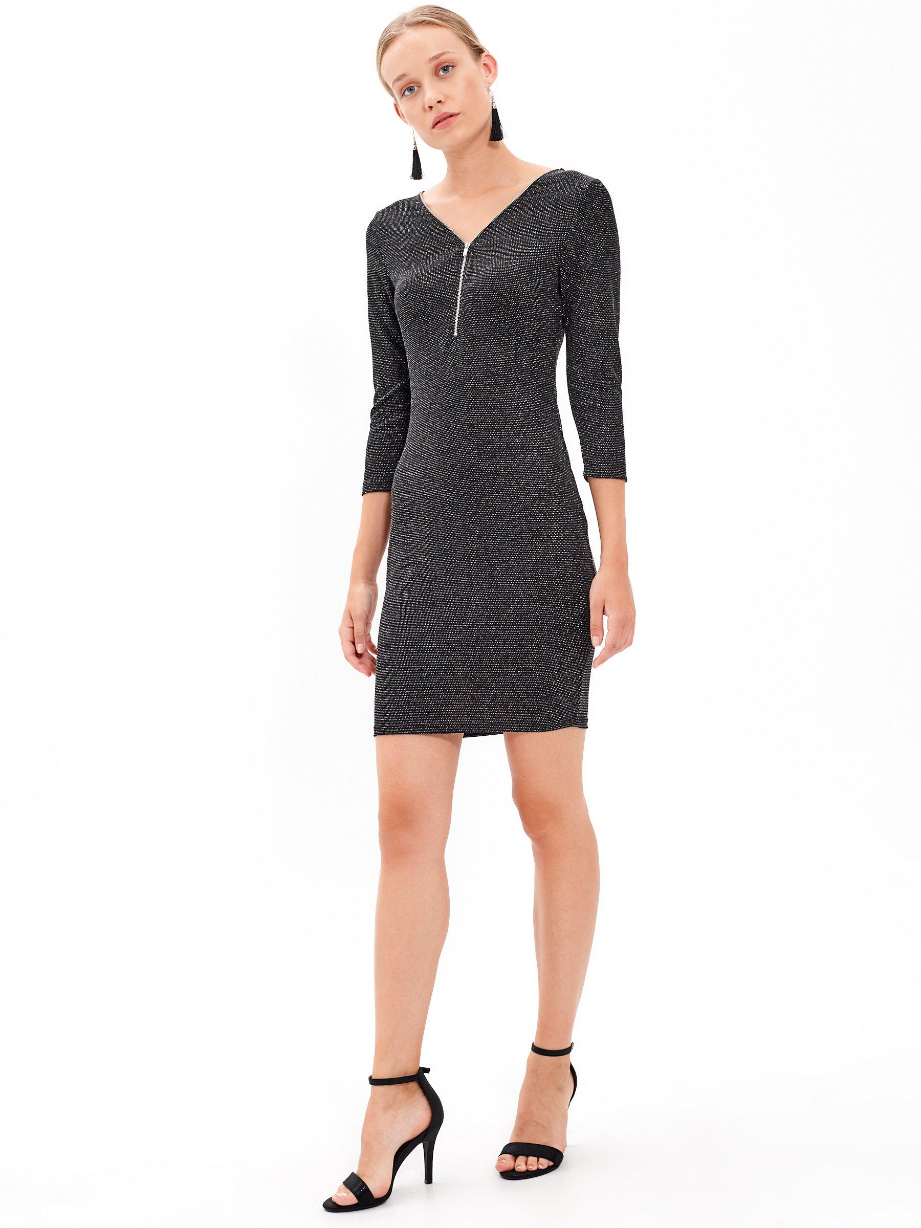 Třpytivé pouzdrové šaty se zipem  dc87cae4b4
