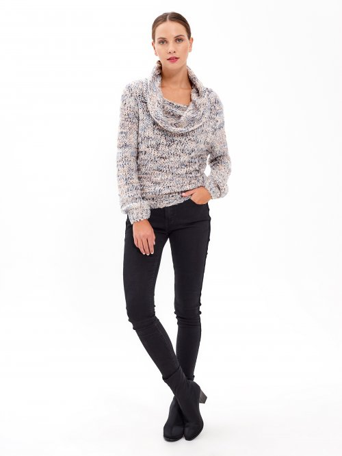 MARLED JUMPER WITH BARDOT NECK