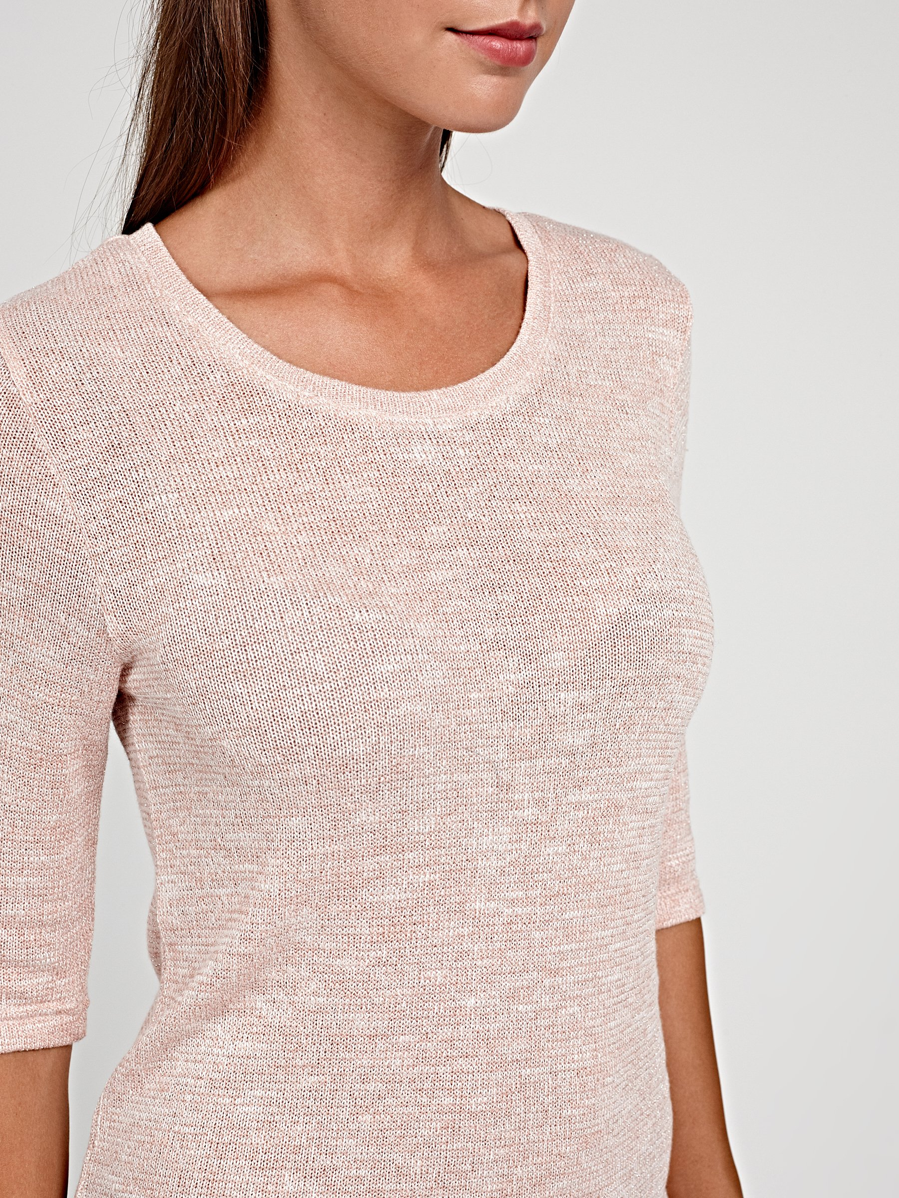 Marled top with metallic fibre