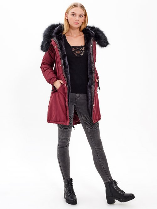 PADDED PARKA WITH FAUX FUR