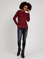 RIB-KNIT JUMPER WITH METAL EYELETS