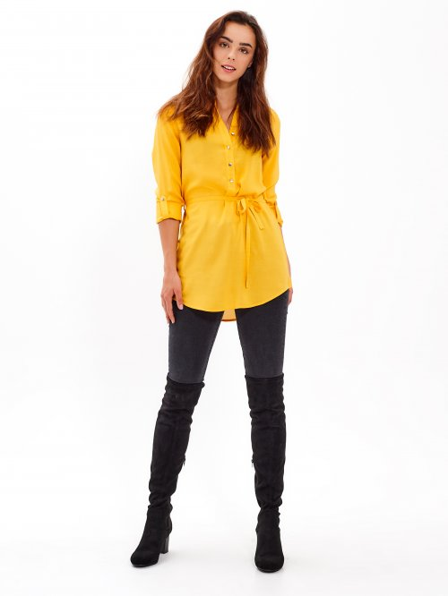 Longline viscose blouse with belt