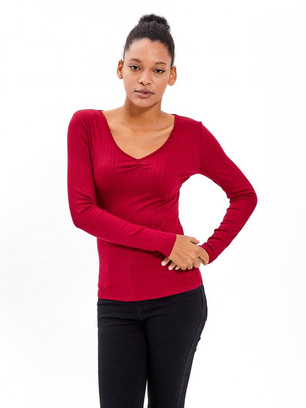 V-NECK RIB-KNIT TOP