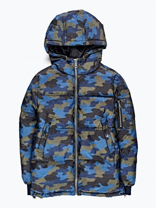 Camo print quilted padded jacket
