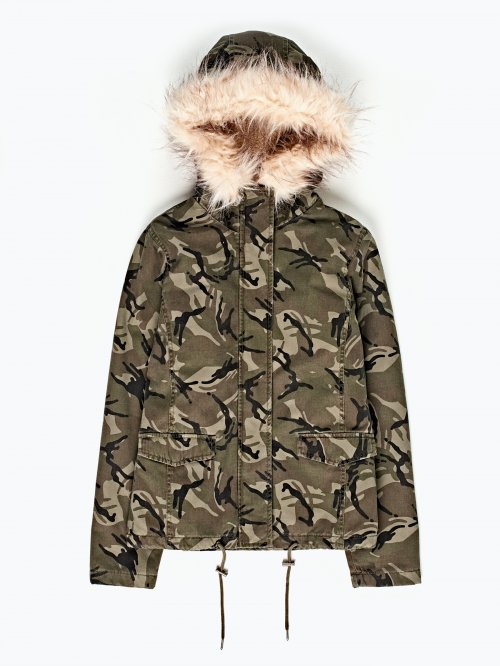 Camo print padded parka with removable hood
