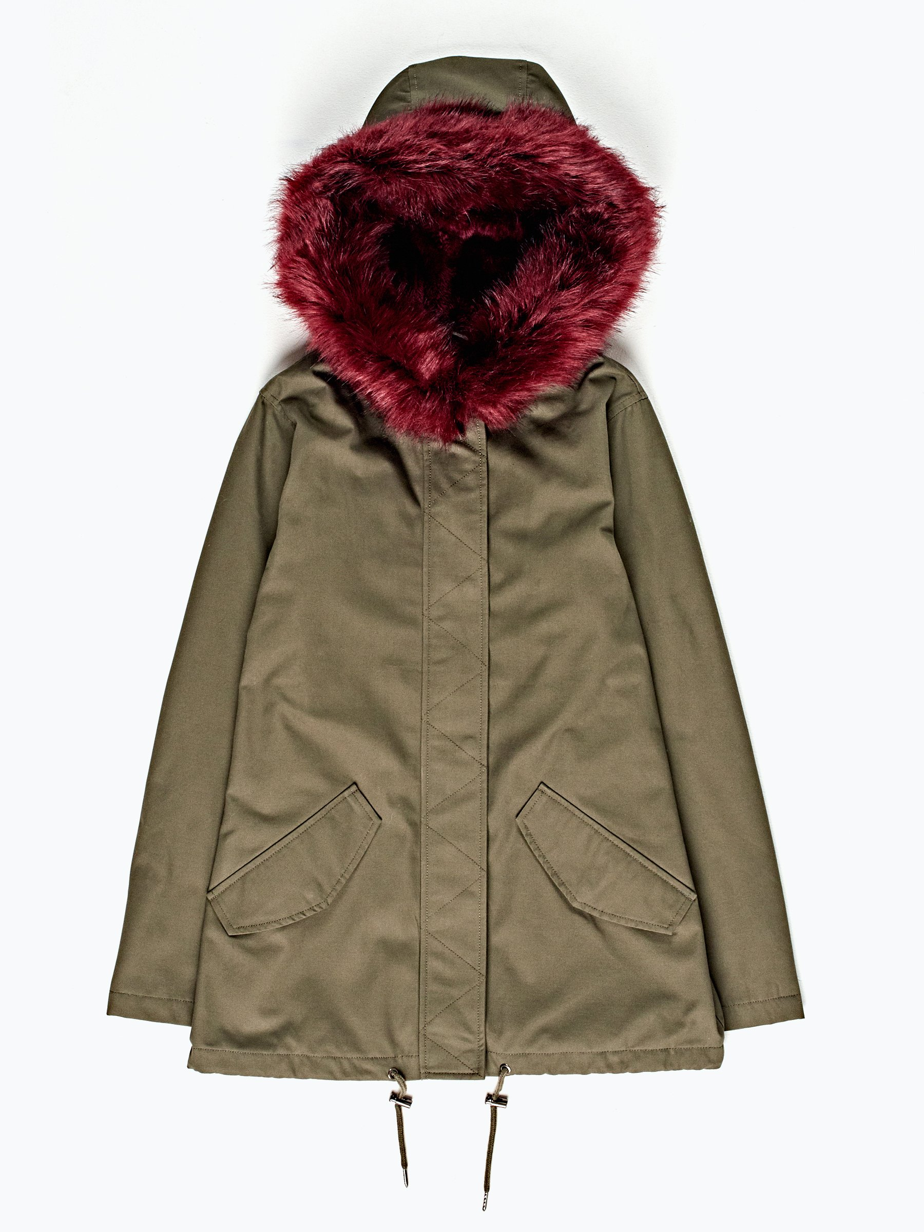 Faux fur lined parka with hood