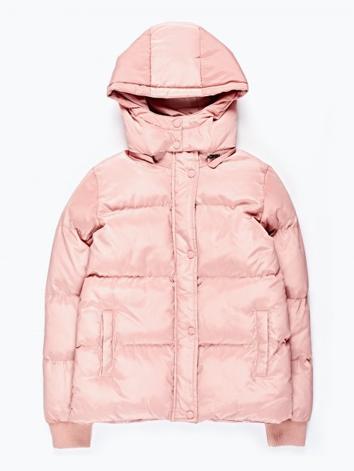 Quilted paded jacket with removable hood