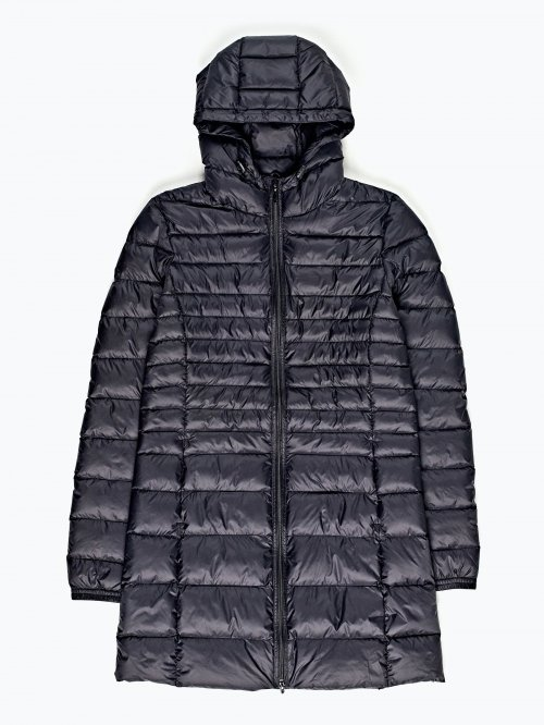 Prolonged quilted light padded jacket with hood