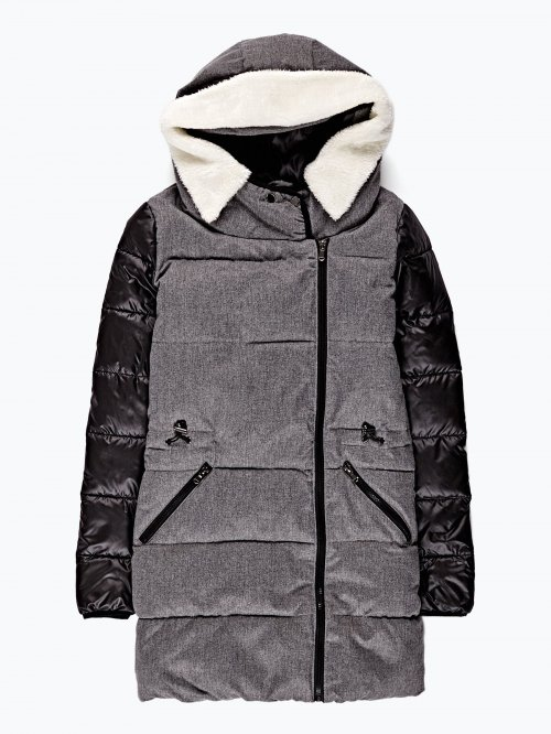 Combined padded jacket with hood