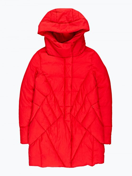 Prolonged quilted padded jacket with hood