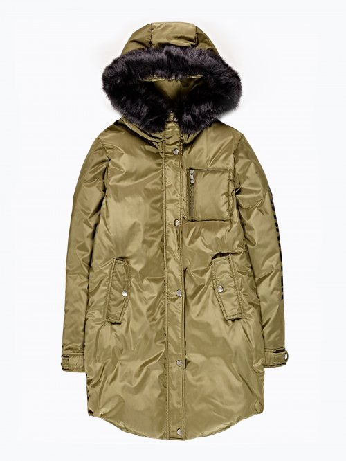 Prolongegd padded jacket with print