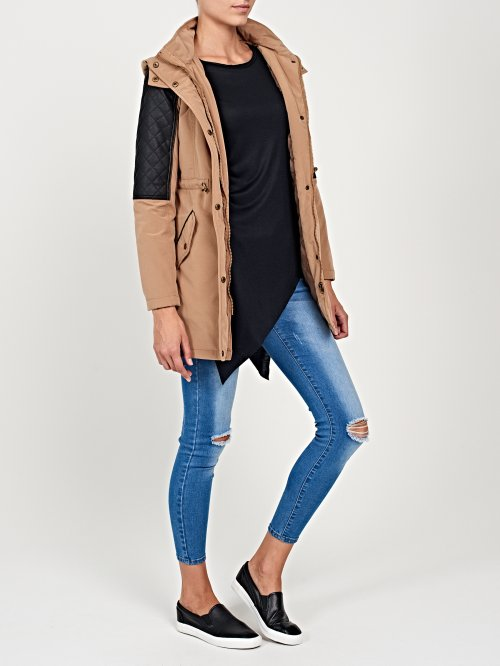 Padded parka jacket with faux leather details