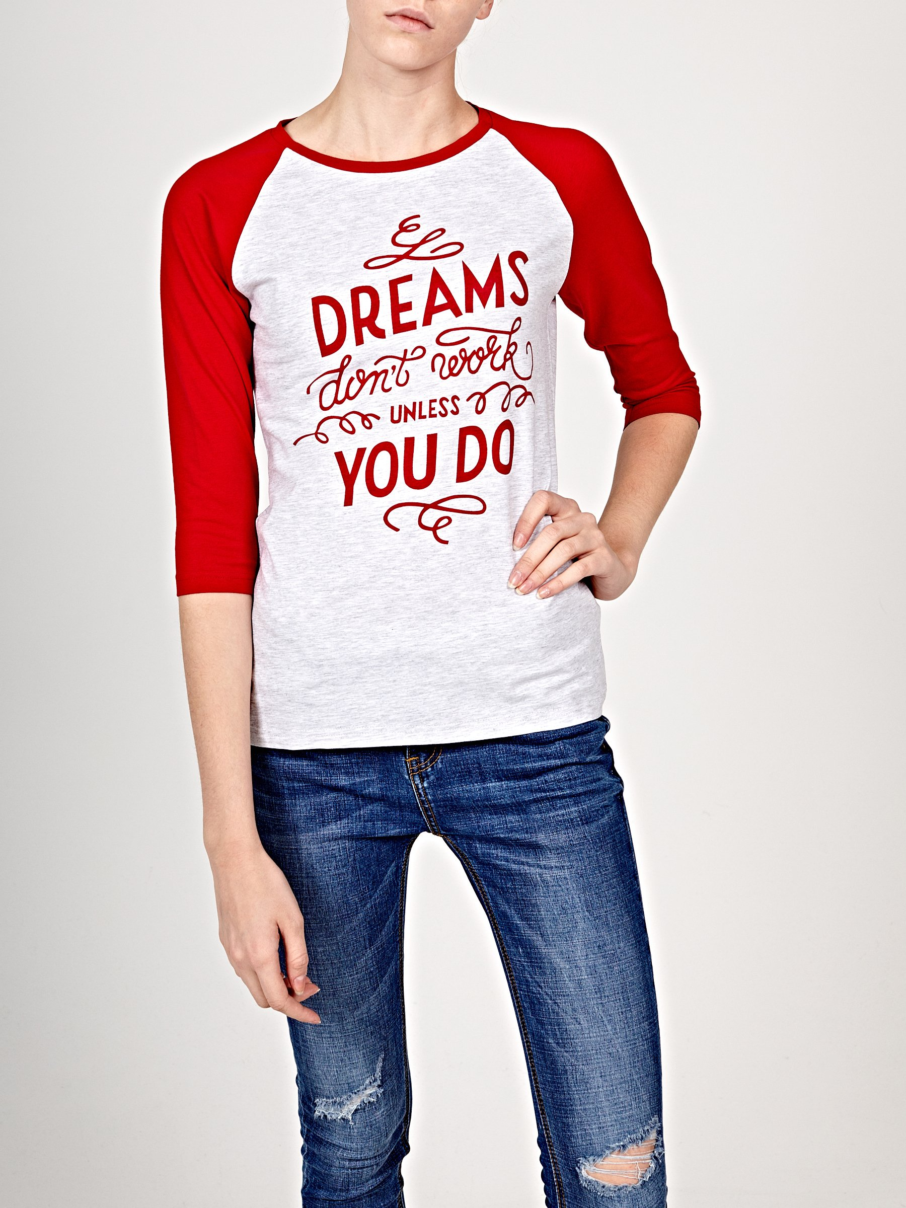Printed T Shirt With Contrast Sleeves Gate