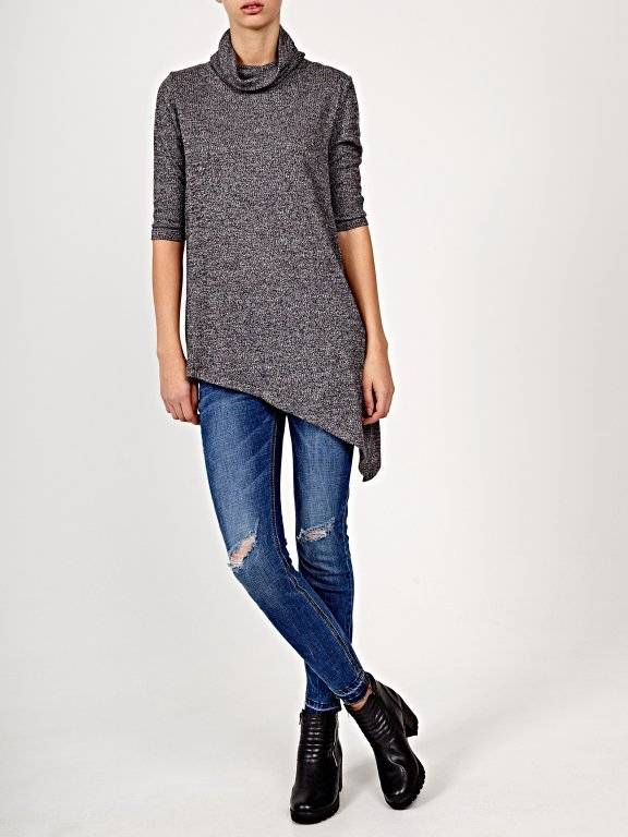 Roll neck top with asymmetrical hem