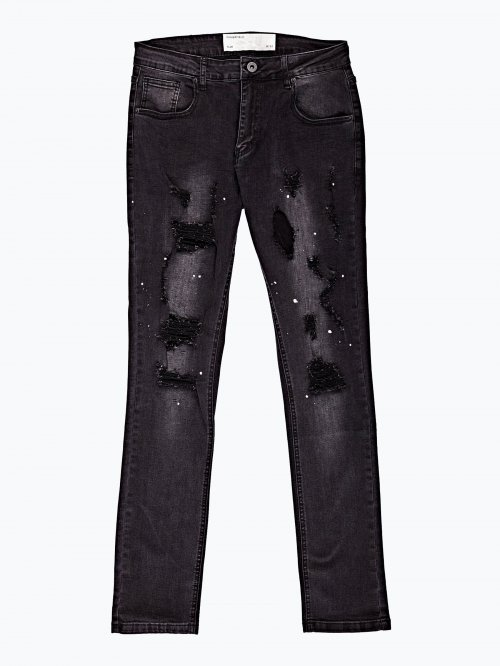 Damaged slim fit jeans with print