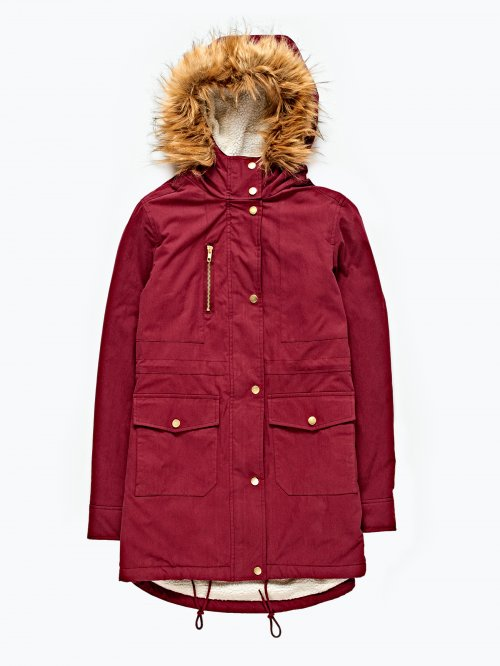 Pile lined parka jacket with hood
