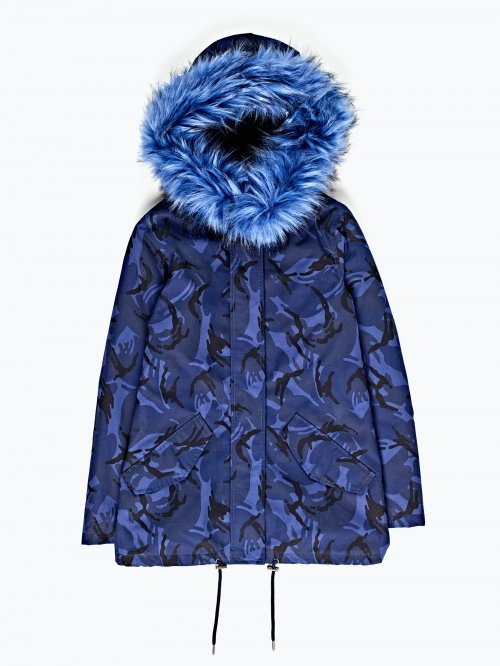 Camo print faux fur lined parka with hood
