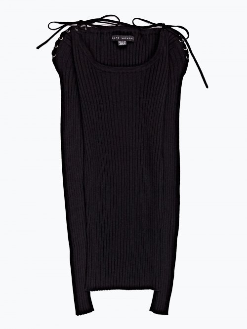 Rib-knit jumper with lace-up shoulder