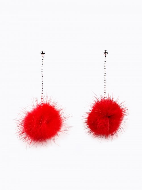 FAUX FUR DROP EARRINGS