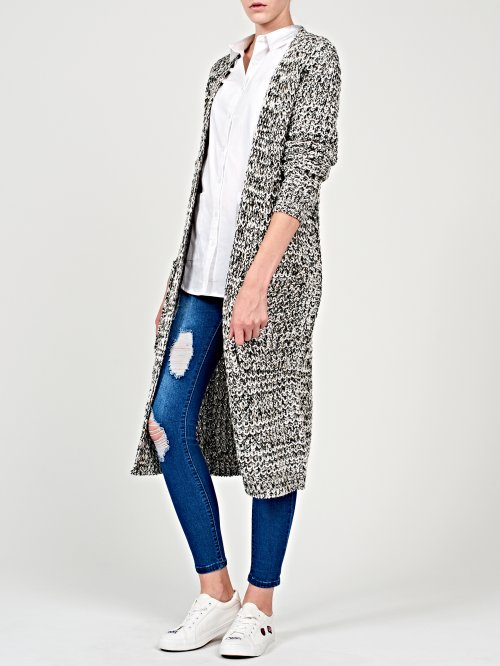 Longline marled cardigan with pockets