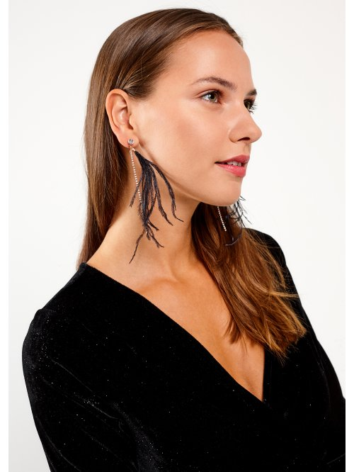 Faux feather earrings