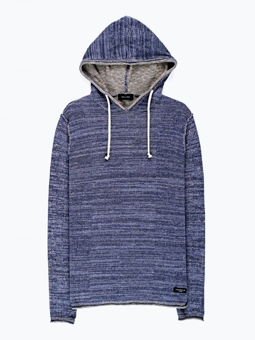 Marled sweater with hood