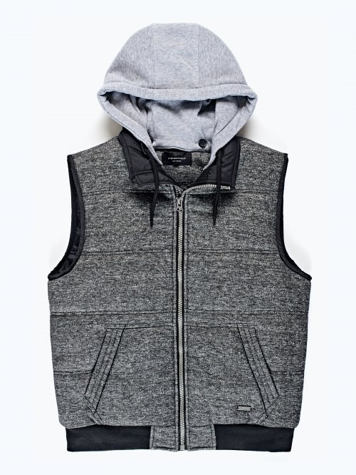 Quilted vest with hood