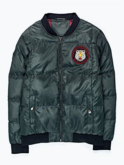 Quilted bomber jacket with chest patch