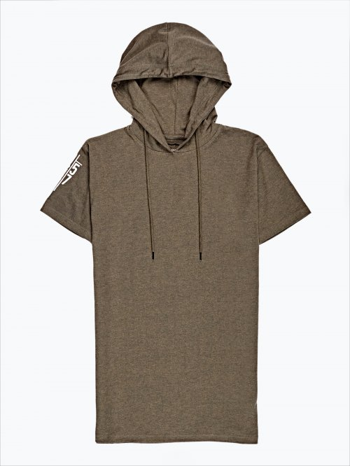 Hooded t-shirt with sleeve print