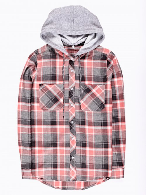 Plaid cotton shirt with hood