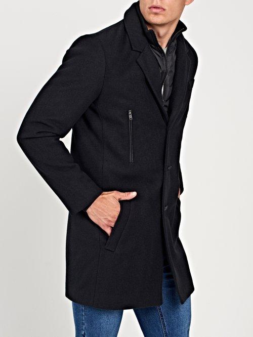 Kombinovaný prodloužený kabát z vlněné směsi 95395b33ef5