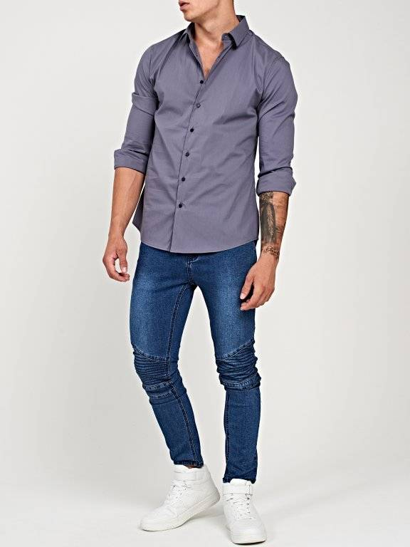 Basic stretch slim fit shirt