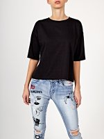 Sequin print crop t-shirt